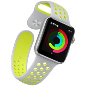 APPLE WATCH 42MM PASEK SPORTOWY SILIKONOWY 24CM GREY-GREEN