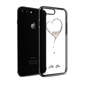 Kingxbar Etui z kryształami Swarovski iPhone 7 8 Black Heart