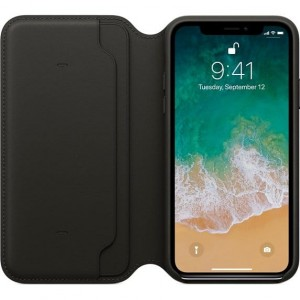 APPLE IPHONE X LEATHER FOLIO SKÓRZANE ETUI CZARNE (MQRV2ZMA)