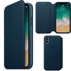 APPLE IPHONE X LEATHER FOLIO SKÓRZANE ETUI NIEBIESKIE (MQRW2ZMA)