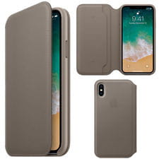 APPLE IPHONE X LEATHER FOLIO SKÓRZANE ETUI SZARE (MQRY2ZMA)